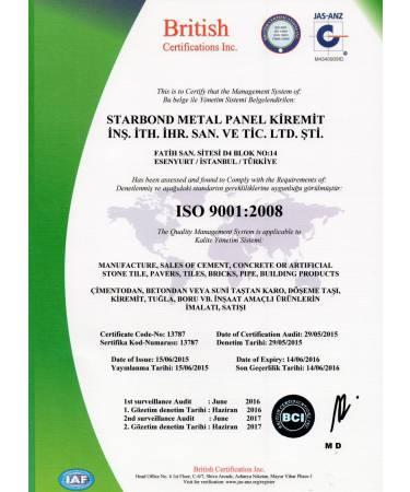 Starbond Metal Kiremit ISO Sertifikası
