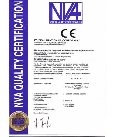 Starbond Metal Kiremit CE Sertifikası